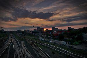 Sonnenuntergang in BErlin gesehen von der Warschauer Brücke Reiseziele 2019