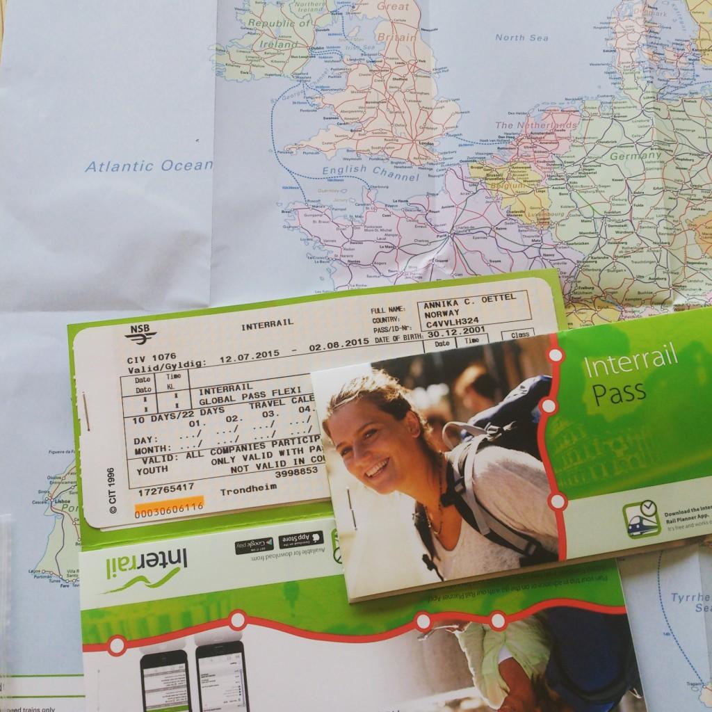 Interrail Pässe Tickets und Karte