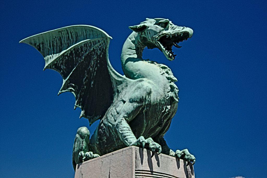 Ljubljana Drache auf der Drachenbrücke