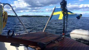 Faszination Skandinavien Schwedische See boot, Schwedische fahne