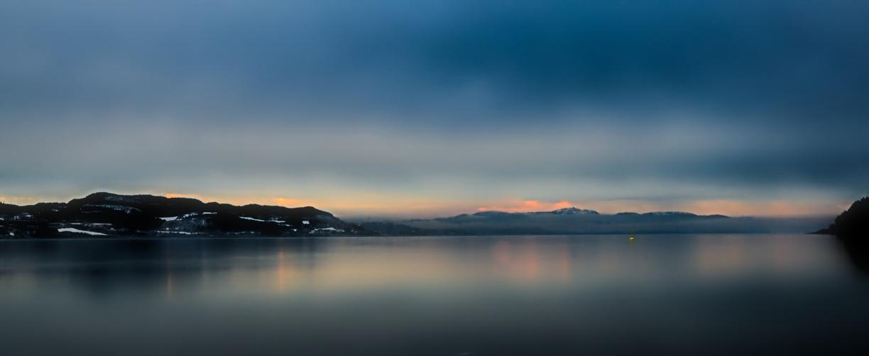 Trondheim Fjord Norwegen Sonnenuntergang langzeitbelichtung
