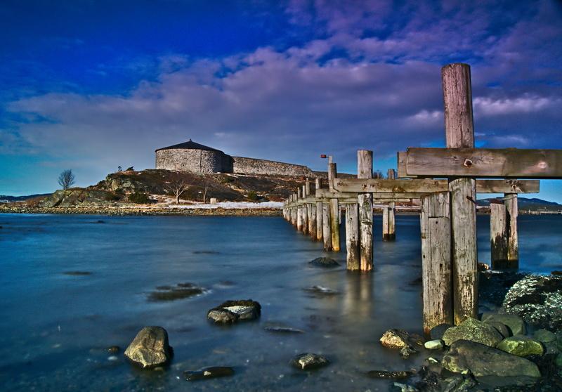 Steinvikholmen, Festung in Norwegen im Fjord Langeitbelichtung