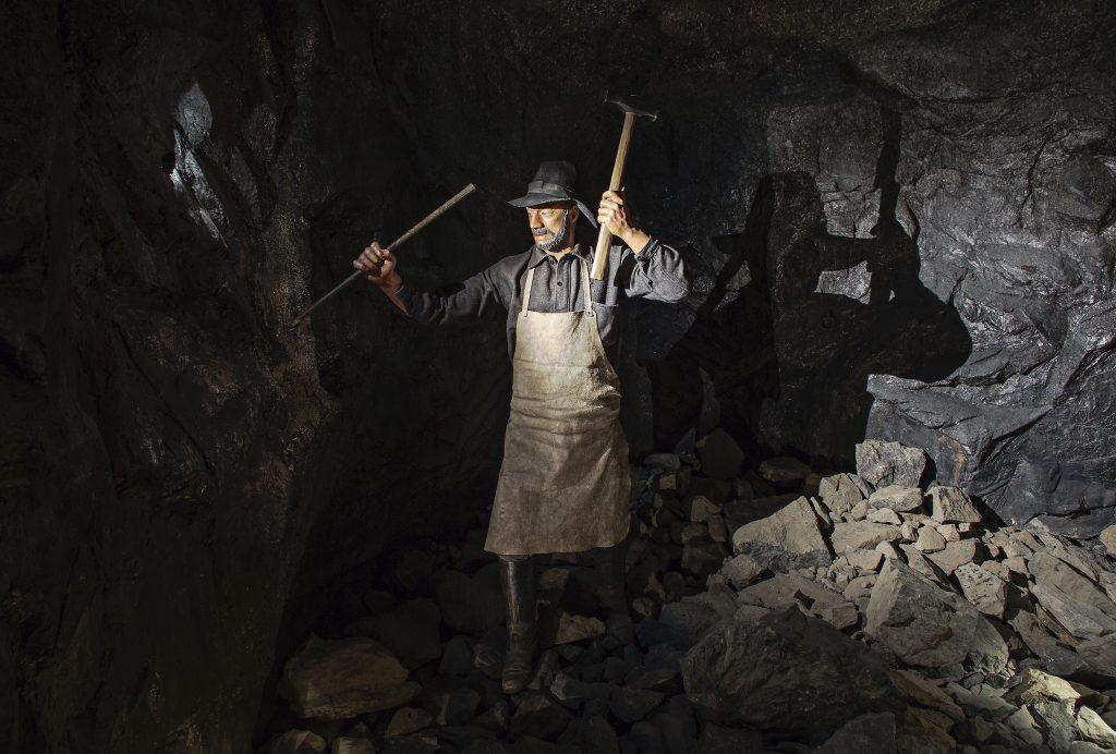 Stockholm technisches museum mit kindern, Mann in Bergwerk