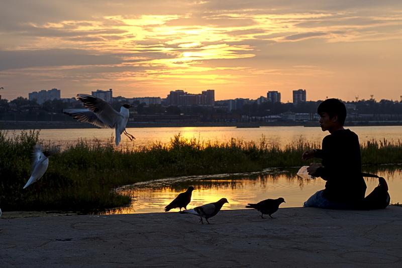Sonnenuntergang in Irkutsk Möwen Mann füttert, Sibirien transsibirische Eisenbahn