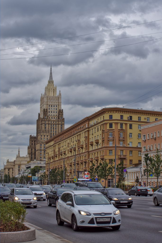 Strassen in Moskau mit Blick auf das Aussenministerium