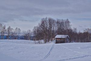 Haus im Schnee Rørøs Adventskalender für Norwegen