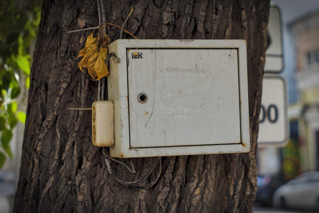 Ein Stromkasten mit Steckdose irgendwo im Baum irkutsk sehenswürdigkeit