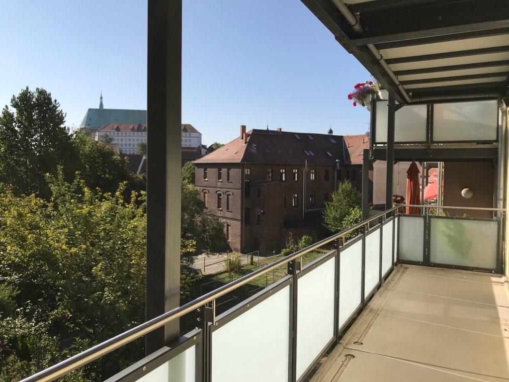 Aussicht vom Balkon Görlitz zurück nach Deutschland