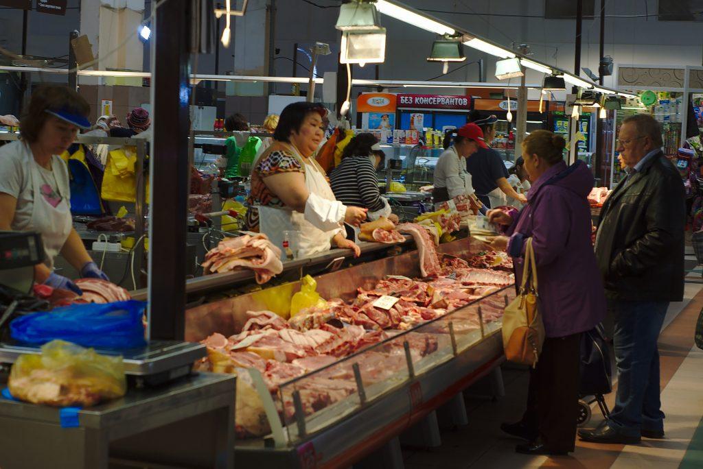 Fleischstand Markthalle Irkutsk Russland Lieblingsmärkte