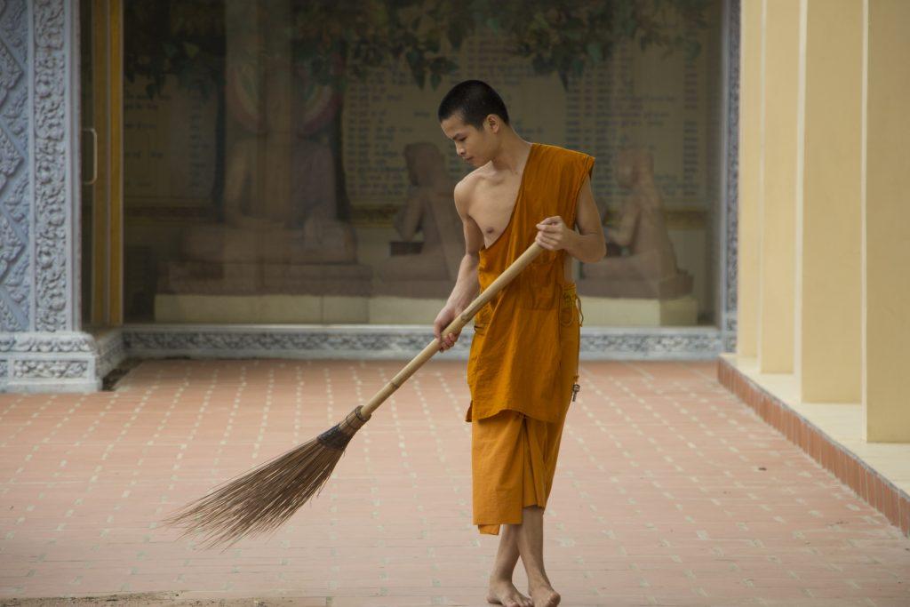 Battambang Kambodscha Wie Buddha im Gegenwind