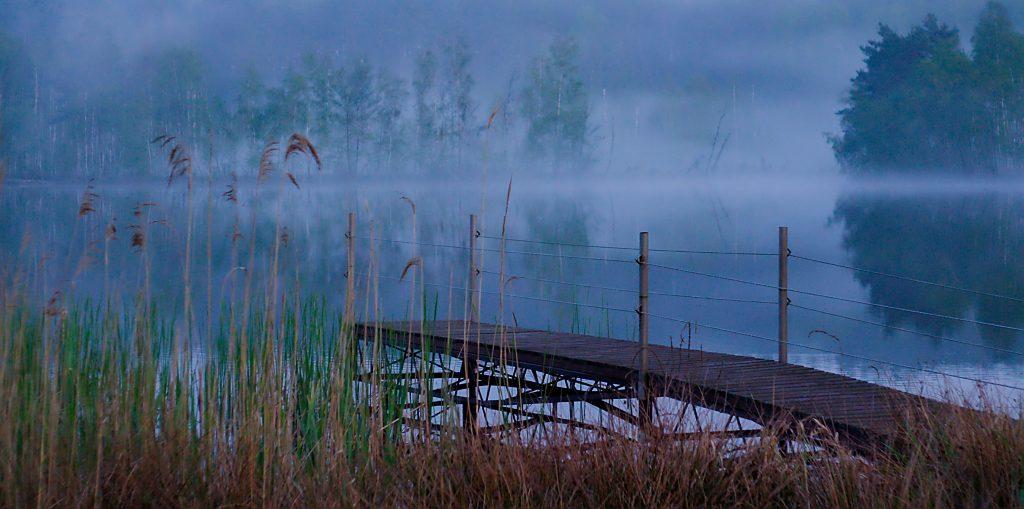 Bootsteg Nebel See Pestkownica Polen