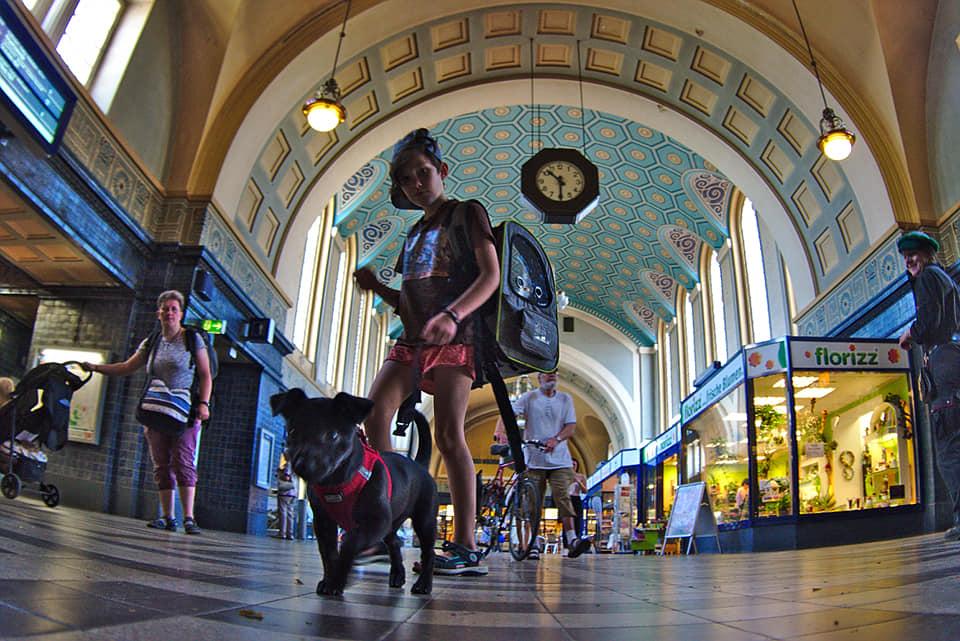 Görlitz Bahnhof Interrail durch Polen Kind mit Hund