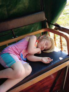 schlafendes Kind,Planwagenfahrt