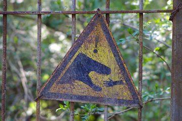 Schild mit Saurier